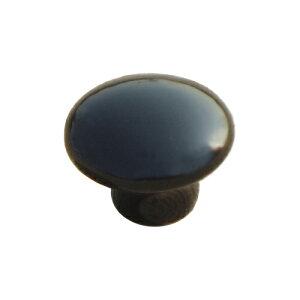 取っ手 つまみ 黒 陶器 DIY 1セット6個入り INK-1705014H