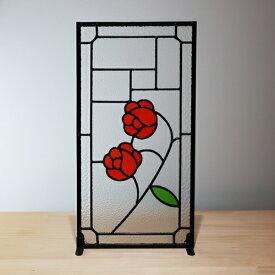 ステンドグラス 薔薇 おしゃれ アンティーク風 W250×H480×T6 INK-1103021H