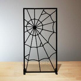 ステンドグラス おしゃれ クモの巣 スパイダー パネル インテリア W250×H480×T7   品番INK-1103026H