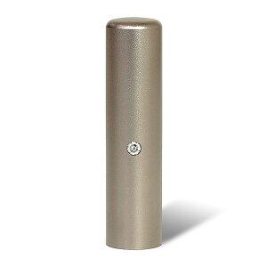 個人印鑑・銀行印・ジュエリーチタン・シルバーブラスト(スワロフスキーアタリ色選択可)・印面直径約15mm×長さ約60mm・ケース別売り