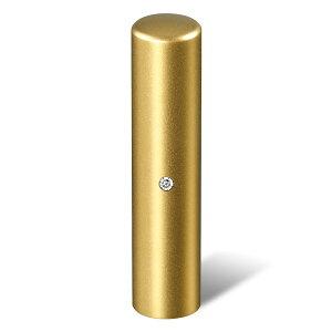 個人印鑑・認印・ジュエリーチタン・ゴールドブラスト(スワロフスキーアタリ色・有無選択可)・印面直径約13.5mm×長さ約60mm・ケース別売り