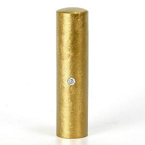 個人印鑑・銀行印・ジュエリーチタン・ゴールド粒界チタン(スワロフスキーアタリ色選択可)・印面直径約15mm×長さ約60mm・ケース別売り