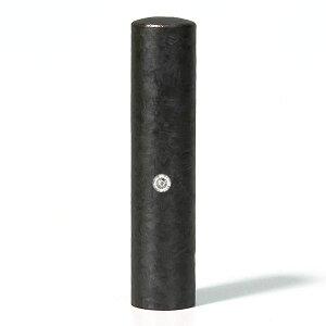 個人印鑑・認印・ジュエリーチタン・ブラック粒界チタン(スワロフスキーアタリ色選択可)・印面直径約13.5mm×長さ約60mm・ケース別売り