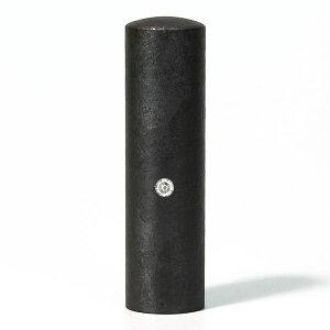 個人印鑑・銀行印・ジュエリーチタン・ブラック粒界チタン(スワロフスキーアタリ色選択可)・印面直径約16.5mm×長さ約60mm・ケース別売り