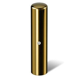 個人印鑑・銀行印・ジュエリーチタン・ゴールドミラー(スワロフスキーアタリ色・有無選択可)・印面直径約13.5mm×長さ約60mm・ケース別売り