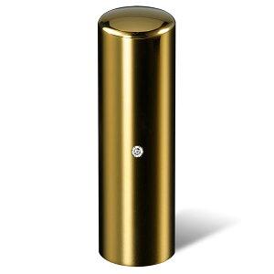 法人印鑑・代表者印(会社印・役職印)ジュエリーチタン印鑑・ゴールドミラー・丸寸胴(スワロフスキーアタリ色・有無選択可)・印面直径約18mm×長さ約60mm・ケース別売り