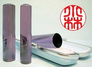 個人用 宝石印鑑 銀行印・認印 紫水晶(アメジスト) 15mm×60mm