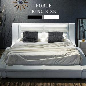 ベッド高級おしゃれブラックポケットコイルマットレス付きホテル仕様フォルテキング