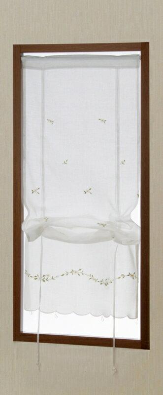 【メール便対応OK!】リボンマーガレット小窓カーテン 幅43x丈120cm