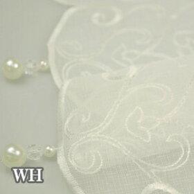 アシャンテカフェカーテンホワイト幅150×丈47cm[オーナメント刺繍クラシックモダンロマンティック高級]