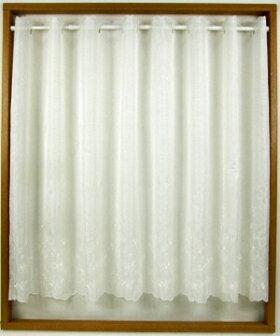 メルローズカフェカーテン幅150x丈90cm[上品ボイル白小花刺繍フェミニンベーシック]