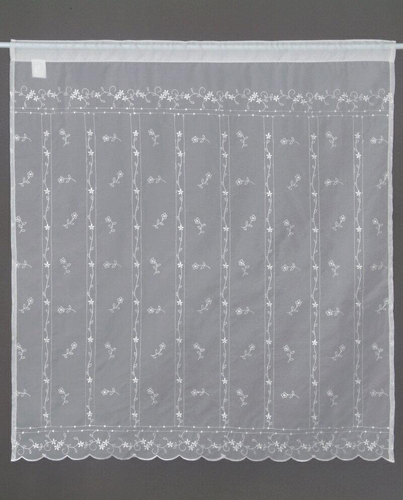 【メール便対応OK!】ホワイトシシュウ 小窓カーテン 幅85x丈90cm