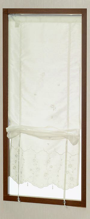 【メール便対応OK!】リボンミュゼ 小窓カーテン 幅43x丈120cm【お買い物マラソン】