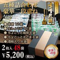 【新商品】味噌煎餅五種詰合わせ合計96枚入り【豪華二段重ね】