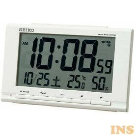 セイコー電波目覚まし時計 ホワイト SQ789W時計 クロック 置き時計 デジタル カレンダー 温度計 湿度計 インテリア セイコークロック 【D】【B】