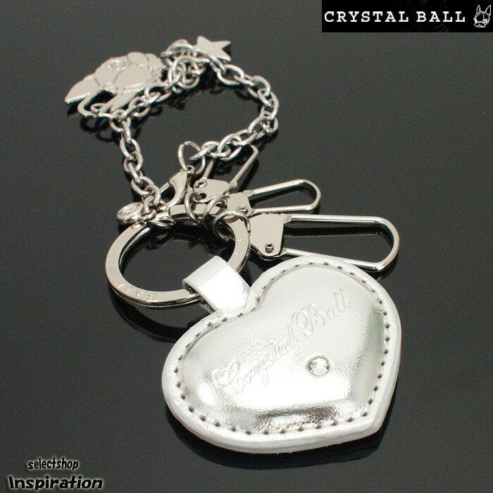 <クーポン配布中>展示品箱なし クリスタルボール(Crystal Ball)キーリング チャーム ストラップ キーホルダー ミラー ギフト〈シルバー〉(cbk102-61)レディース 婦人