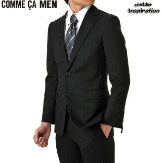 komusamen(COMME CA MEN)西服条纹西服〈黑〉(0702sg14-05)绅士人