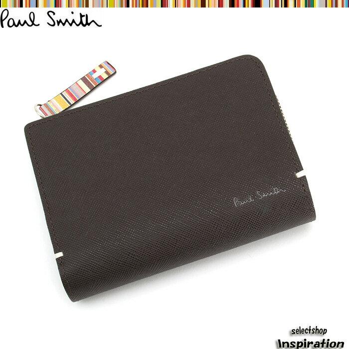 展示品箱なし ポールスミス 財布 二つ折り財布 Paul Smith 茶 psk865-71 メンズ 紳士