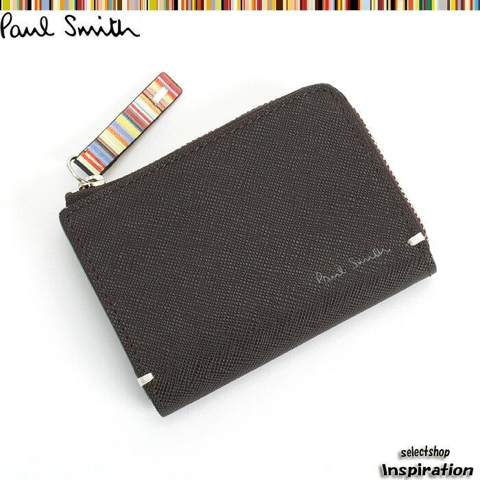 ポールスミス 財布 小銭入れ コインケース パスケース付き 茶 Paul Smith psk862-71 メンズ 紳士