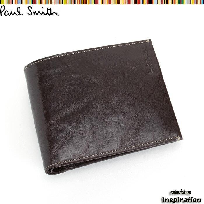 ポールスミス 財布 二つ折り財布 Paul Smith 茶 psu605-70 メンズ 紳士