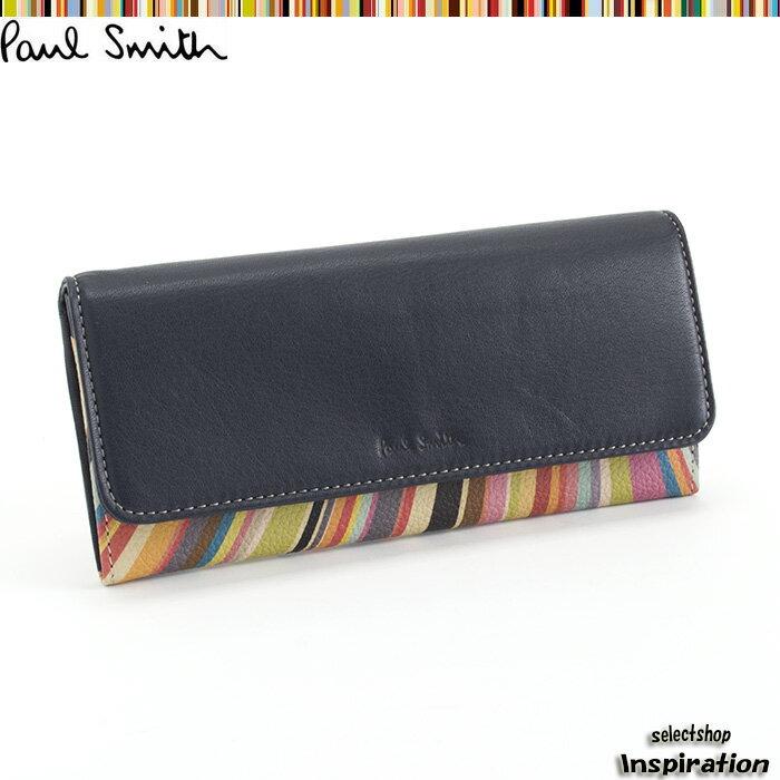 ポールスミス Paul Smith 財布 長財布 紺 pwu455-30 ネイビー レディース 婦人