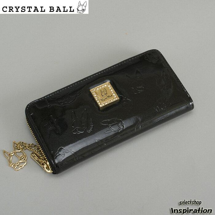 クリスタルボール 財布 長財布 黒 ラウンドファスナー Crystal Ball cbk005-10 レディース 婦人