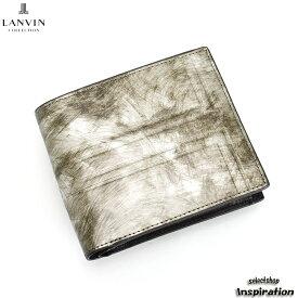 訳あり展示品箱なし ランバンコレクション 財布 二つ折り財布 ガンメタリック jlmw0is2-86 b LANVIN collection ブランド メンズ 紳士