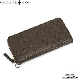 <クーポン配布中>展示品箱なし パトリックコックス 財布 長財布 ラウンドファスナー 茶 PATRICK COX pxmw2ft2-20 メンズ 紳士