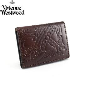 <クーポン配布中>展示品箱なし ヴィヴィアンウエストウッドマン パスケース 定期入れ カードケース 濃茶 Vivienne Westwood MAN 36382362 メンズ 紳士