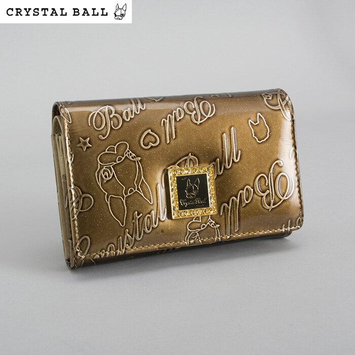 展示品箱なし クリスタルボール Crystal Ball 財布 二つ折り財布 ブロンズ系 カーキ系 cbk012-54 レディース 婦人
