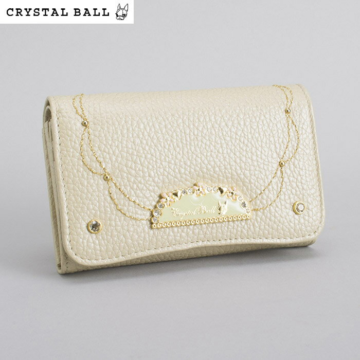 <クーポン配布中>クリスタルボール Crystal Ball 財布 二つ折り財布 ベージュ cbk252-90 レディース 婦人
