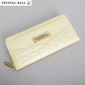 <クーポン配布中>展示品箱なし クリスタルボール 財布 長財布 ラウンドファスナー ベージュ系 Crystal Ball cbk295-90 レディース 婦人