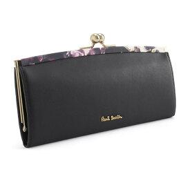 <クーポン配布中>ポールスミス 財布 長財布 がま口財布 ブラック Paul Smith pwa365-10 レディース 婦人