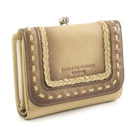 <クーポン配布中>キャサリンハムネット KATHARINE HAMNETT LONDON 財布 二つ折り財布 がま口財布 ベージュ khp083-90 レディース 婦人