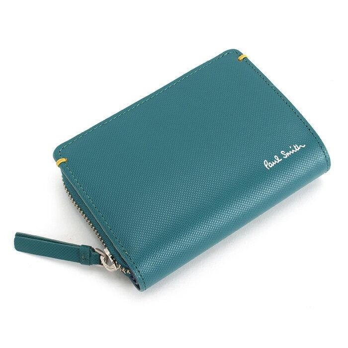 <クーポン配布中>ポールスミス 財布 二つ折り財布 ラウンドファスナー スカイ(グリーンがかったようなお色です。) Paul Smith psu937-35 メンズ 紳士