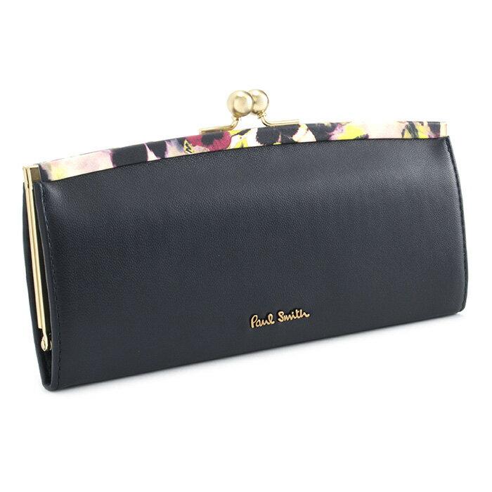 ポールスミス 財布 長財布 がま口財布 ネイビー(黒に近いネイビーです。) Paul Smith pwa365-30 レディース 婦人