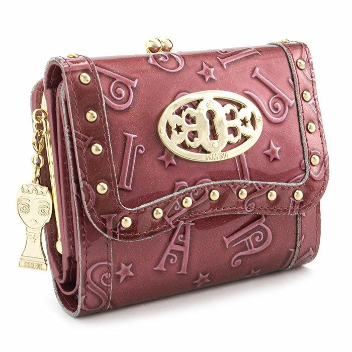 <クーポン配布中>アナスイ 財布 三つ折り財布 がま口財布 ワイン系 ANNA SUI 307212-34 レディース 婦人 バタフライ