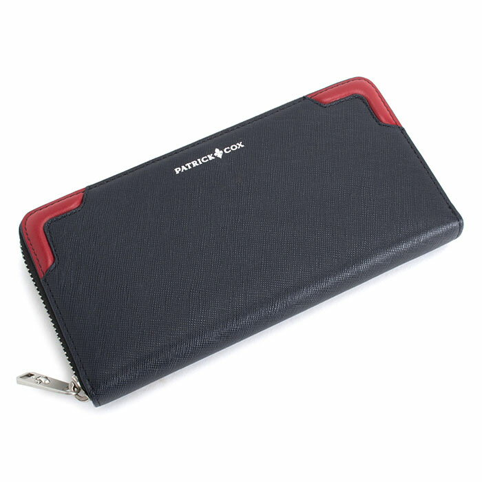 <クーポン配布中>展示品箱なし パトリックコックス 財布 長財布 ラウンドファスナー 濃紺(フロント上部に赤) PATRICK COX pxmw5st1 メンズ 紳士