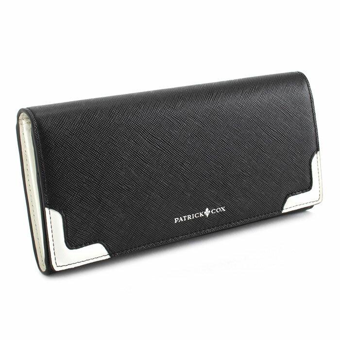 <クーポン配布中>パトリックコックス 財布 長財布 ブラック(フロント下部に白) PATRICK COX pxmw5st2-10 メンズ 紳士
