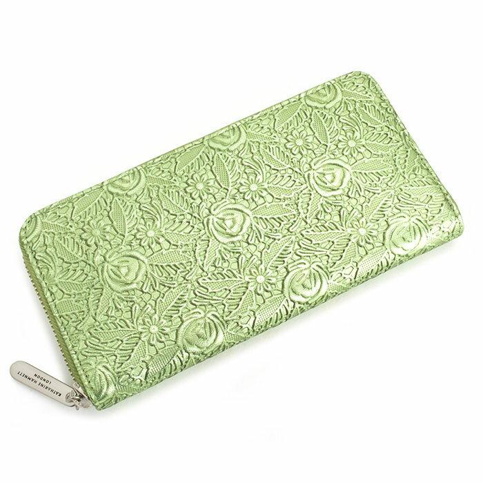 展示品箱なし キャサリンハムネット 財布 長財布 ラウンドファスナー 緑(グリーン) KATHARINE HAMNETT LONDON khp356-50 レディース 婦人