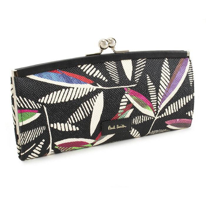 ポールスミス 財布 長財布 がま口財布 黒(ブラック、ローワンリーフ) Paul Smith pwd091-17 レディース 婦人