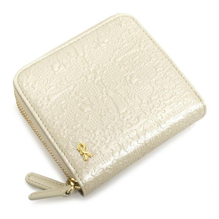 <クーポン配布中>展示品箱なし ロベルタディカメリーノ 財布 二つ折り財布 ラウンドファスナー パールホワイト Roberta di Camerino rbi662-63 レディース 婦人