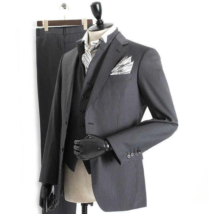 ティノラス スーツ ストライプスーツ スリーピース TENORAS 濃灰(ダークグレー) te6070 メンズ 紳士