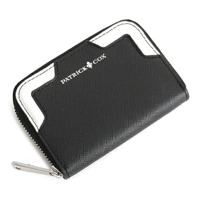 <クーポン配布中>展示品箱なし パトリックコックス 財布 小銭入れ コインケース ラウンドファスナー 黒(ブラック。コーナー:ホワイト) PATRICK COX pxmw5sc1-9c メンズ 紳士