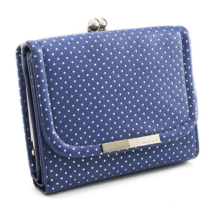 <クーポン配布中>展示品箱なし レベッカテイラー 財布 三つ折り財布 がま口財布 青(ブルー) REBECCATAYLOR 866312-85 レディース 婦人