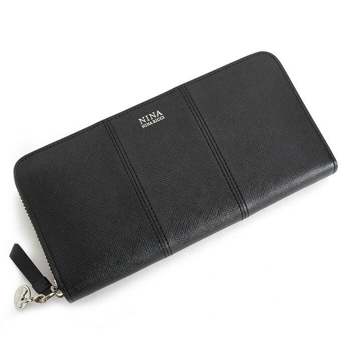 展示品箱なし ニナリッチ 財布 長財布 ラウンドファスナー 黒(ブラック) NINA RICCI 035355310-10 レディース 婦人