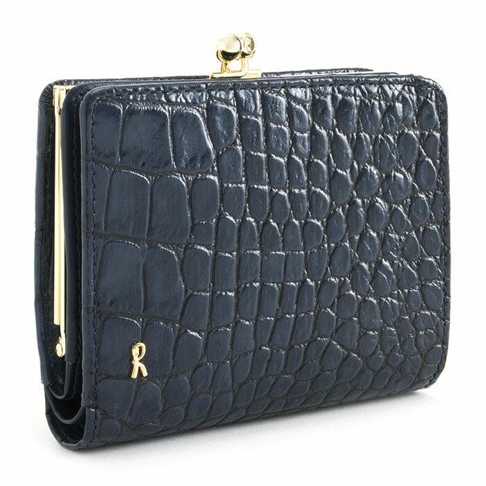 <クーポン配布中>展示品箱なし ロベルタディカメリーノ 財布 二つ折り財布 がま口財布 紺(ネイビー) Roberta di Camerino rbi682-30 レディース 婦人
