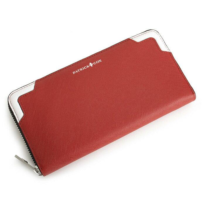 パトリックコックス 財布 長財布 ラウンドファスナー 赤(レッド。フロント上部に白) PATRICK COX pxmw5st-40 メンズ 紳士