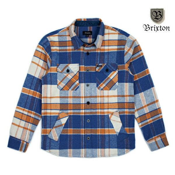 【BRIXTON】DURHAM L/S flannel カラー:blue/orange 【ブリクストン】【スケートボード】【シャツ/長袖】
