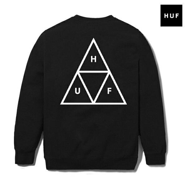 【HUF】TRIPLE TRIANGLE CREWNECK カラー:black 【ハフ】【スケートボード】【スウェット/クルーネック】